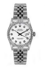 Rolex Women's Datejust Midsize Stainless Steel Custom Diamond Bezel White Diamond Dial