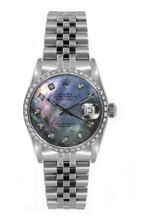 Rolex Women's Datejust Midsize Stainless Steel Custom Diamond Bezel Black Mother of Pearl Diamond Dial