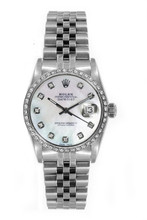 Rolex Women's Datejust Midsize Stainless Steel Custom Diamond Bezel Mother of Pearl Diamond Dial
