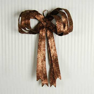 """15"""" x 20"""" fabric glitter bow (pliable) harvest brown"""