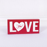 11x5x1.5 wood sign (LOVE) rd/wh