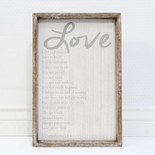 11x16.5x1.5 frmd sign (LOVE IS) wh/gr