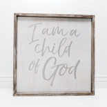24x24x1.5 frmd sign (CHLD OF GOD) wh/gr