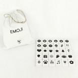 8.75x11x1.25 bag 30 pcs 1.5x1.75x.25 (EMOJI) wh/bk