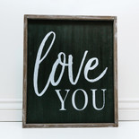 18x20x1.5 frmd sign (LOVE YOU) bk/wh