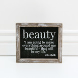 7x6x1.5 frmd sign (BEAUTY) bk/wh