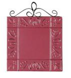 "4"" x 4"" metal emboss tile magnet w/scroll ""blank"" pink"