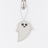 5x5x.25 wood ornament (GHOST) wh/bk/gy