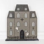 17x19x1.5 wood haunted house on base bk/gy/wh