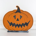 13.75x11.75x1.5 wood pumpkin on base (JOL) or/bk