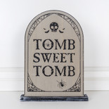 9x16x1.5 wood grave stone on base (TOMB) gy/bk