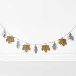 60x6 felt garland (LEAVES) wh/tn/gy