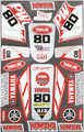 YAMAHA PW80 STICKER KIT SIZE: 565mm x 355mm RED