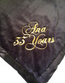 Little Giraffe Luxe Throw Blanket shown with Gold Metallic Script Embroidery (Email or call us for any or all custom designs)