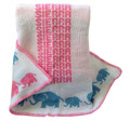 Personalized knit blanket, elephant motif in pastel colors