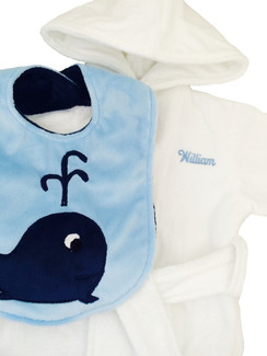 White Terry Velour Hooded Bathrobe with Luxe Bib with Whale