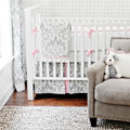 Grey Crib Bedding with pink accents