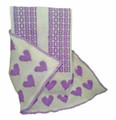 Personalized Heart Knit Blanket (Lavendar Hearts)