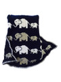 Personalized Elephant Knit Blanket (Gray and White)