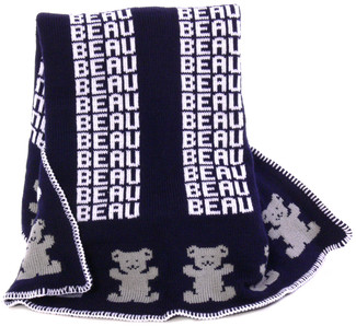 Personalized Navy Knit Blanket with Bear in Gray