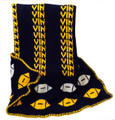 Personalized Sports Football Knit Blanket (Navy & Gold)