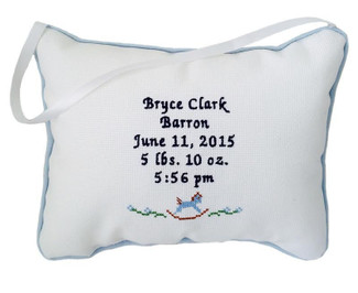 The Classical Musical Pillows hang from a Satin Ribbon, shown with Navy Thread