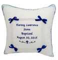 "Double Sided Welted Musical ""Single Bow"" Baptism & Christening Pillow (shown in Royal Blue Thread) (Front)"