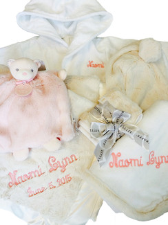 Package shown with Cream Towel, Blanket, Burp Cloth in Pink Embroidery. See scroll-down menu for color options.