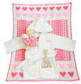 White Blanket Name & Trim: Petal Pink Hearts: Petal Pink & Sugar Pink