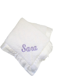 White Chenille Blanket with Lavender Block Script Embroidery