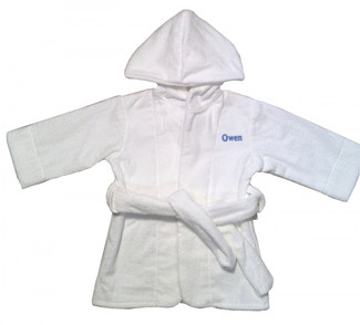 White Terrycloth Bathrobe with monogrammed name front