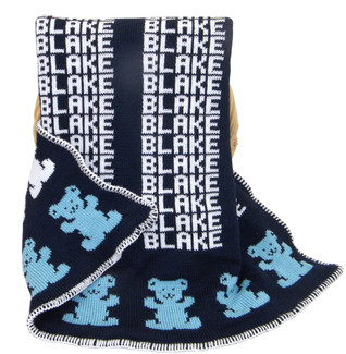 Personalized Navy Knit  Blanket with Bear in Dusty Blue