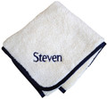 Personalized Fattamano Stroller Blanket Navy Trim