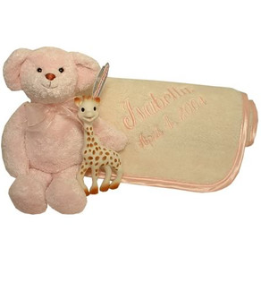 Fattamano Stroller Blanket Pink Trim with Sophie the Giraffe and large teddy