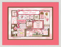 Patchwork Girl Birth Certificate Art (Pink & Chocolate)