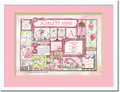 Patchwork Girl Birth Certificate Art (Lime & Pink)
