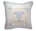 Blue double bow musical pillow