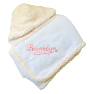White Chenille Hooded Towel w Pink Script Embroidery
