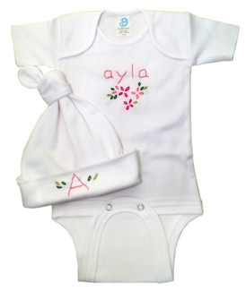 Hand Embroidered 2pc Onesie