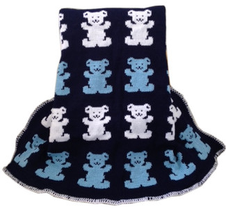 Custom Knit Blanket with Bear motif