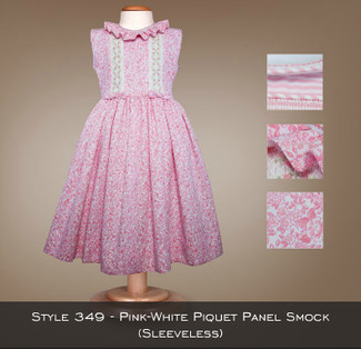 Spring Collection Pink White Piquet Panel Smock (sleeveless) 349