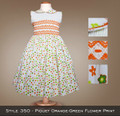 Spring Collection Piquet Orange Green Flower Print style 350