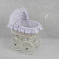 Classic White Wicker Doll Pram