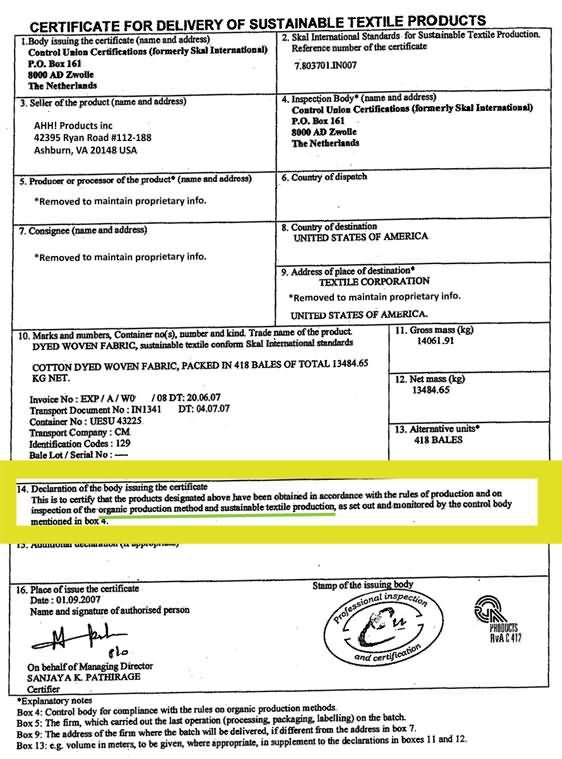 Organic Cotton Certification