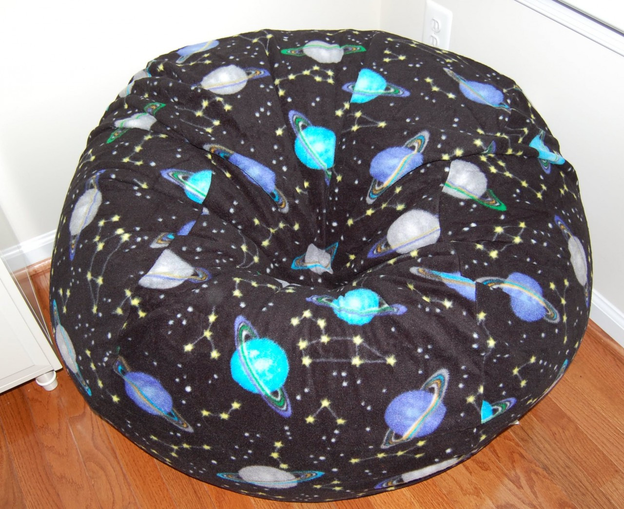 Buy space planets stars theme bean bag chairs for kids for Outer space fleece