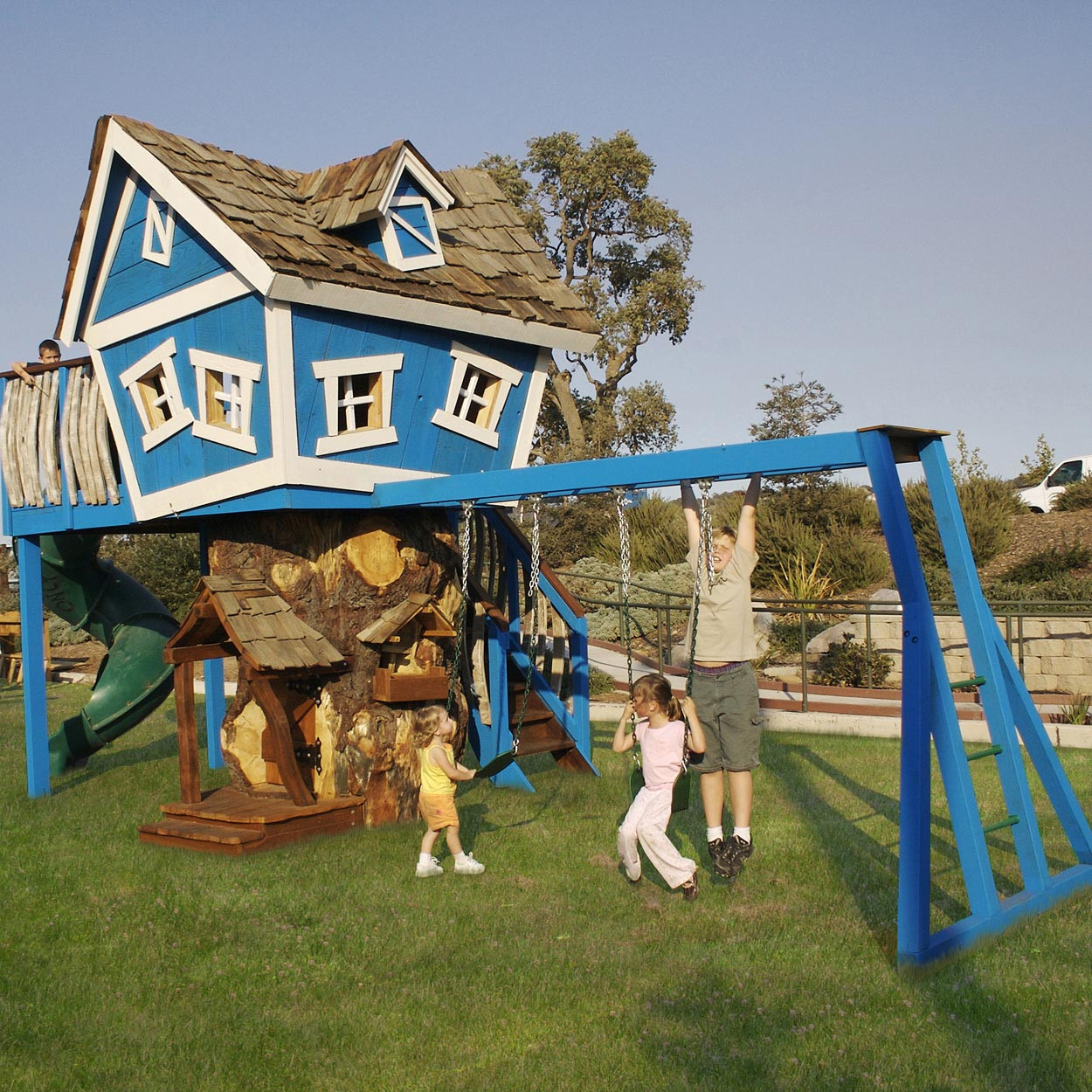 Daniels Wood Land Monkey Mansion Outdoor Wood Tree Playhouse