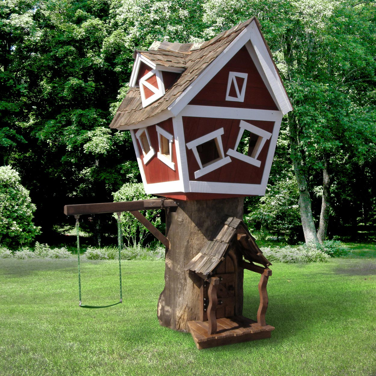 Daniels wood land original tree playhouse for Kit per costruire casa sull albero