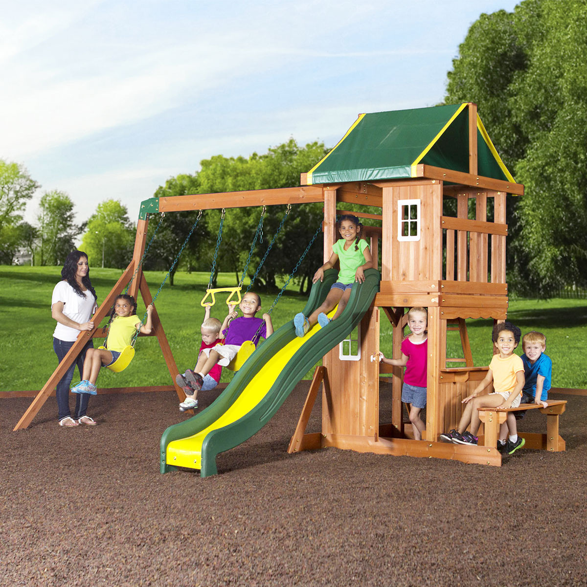 Oakmont Wooden Swing Set (65114com)