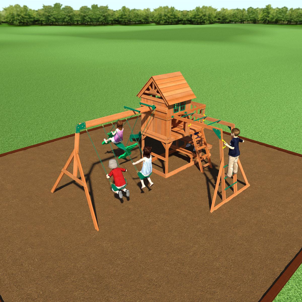 Springboro Wooden Swing Set (40014com)