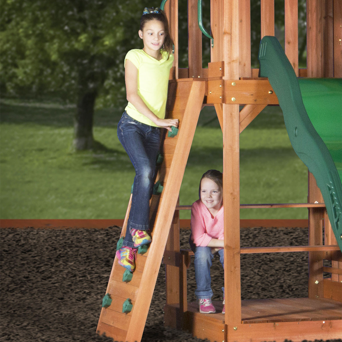 Pacific View Wooden Swing Set (30015com)